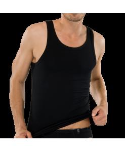 205428-000-Schiesser-95_5-Pima-Cotton-schwarzes-aermelloses-Herren-Shirt