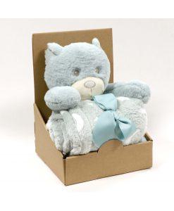 Knuffel pluche + plaid Bear blue