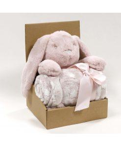 Knuffel pluche + plaid Rabbit pink