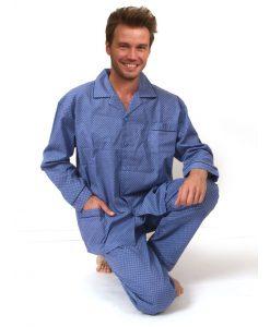 Pyjama Outfitter lange mouwen heren blue pattern geweven katoen