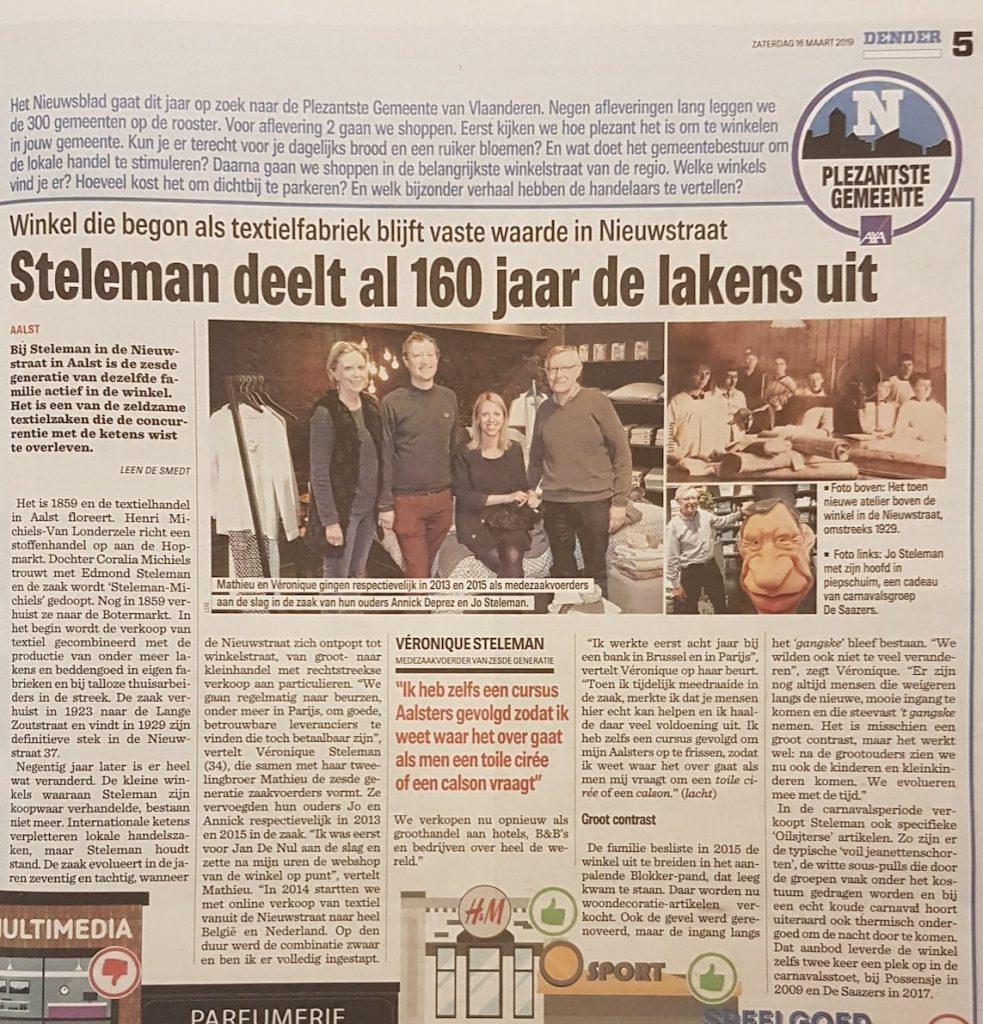 Artikel Het Nieuwsblad - 16 februari 2019