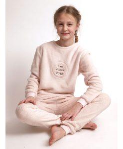 Pyjama Cocodream coral fleece girls I am super CUTE lange broek