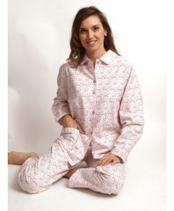 Pyjama Cocodream dames lange mouwen flanel rings