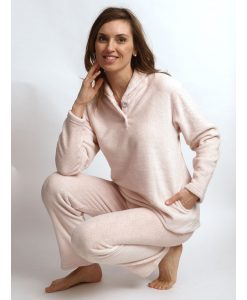 Pyjama Cocodream dames lange mouwen coral fleece panter