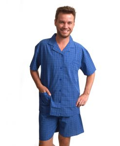 Pyjama Outfitter korte mouwen heren geweven katoen check