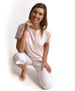 Pyjama 3/4 broek dames ribbed