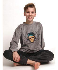 Pyjama lange mouwen kids music monkey velours Outfitter jongens