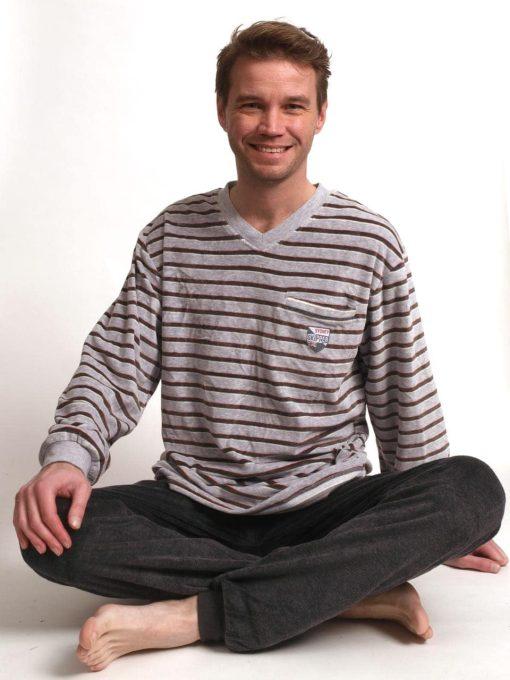 Pyjama lange mouwen heren striped skipper velours Outfitter
