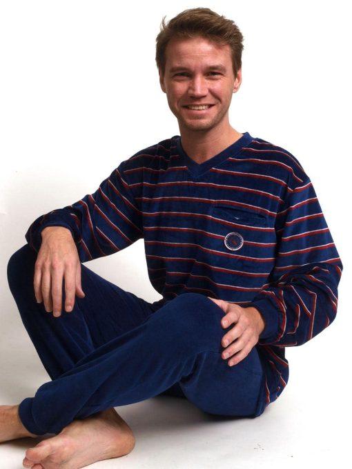 Pyjama lange mouwen heren kompas velours