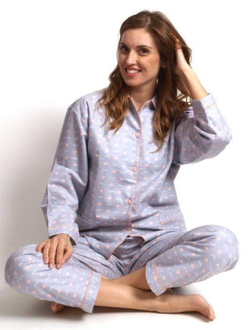 Pyjama lange mouwen hearts and eyes flanel Cocodream dames