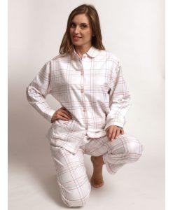 Pyjama lange mouwen doorknoop squares flanel Cocodream dames