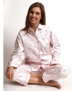 Pyjama lange mouwen doorknoop vosjes flanel Cocodream dames