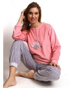 Pyjama lange mouwen panther velours Cocodream dames