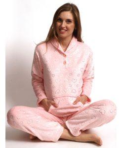 Pyjama lange mouwen glitter hearts coral fleece