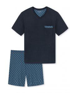 Schiesser pyjama korte mouwen blue pocket V