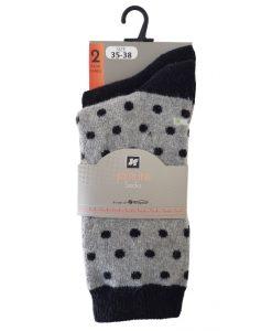 Wollen Kous Ferline W5402 dots zwart
