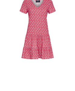 Slaapkleed Daisy Flowers korte mouwen rood Ringella