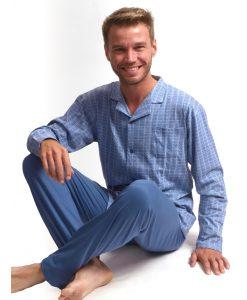 Outfitter pyjama lange mouwen heren doorknoop pocket