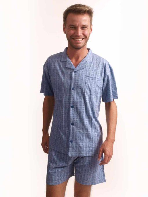Outfitter pyjama korte mouwen heren doorknoop pocket