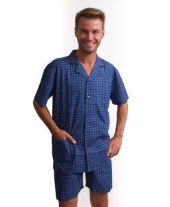 Outfitter pyjama korte mouwen heren tile doorknoop