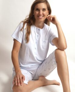 Cocodream pyjama 3/4 broek dames ribbed butterflies