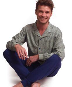 Outfitter - Pyjama lange mouwen heren chain knopen jersey