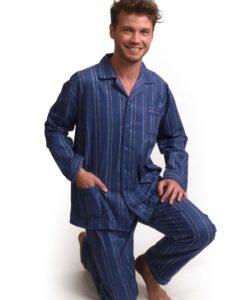 Outfitter - Pyjama lange mouwen heren stripe knopen flanel