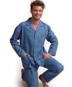 Outfitter - Pyjama lange mouwen heren stone knopen flanel